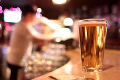 Pint of beer. In a tavern royalty free stock images