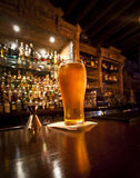 Pint of beer. On a bar in a traditional style pub royalty free stock image