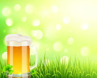 Pint of beer on bokeh light background Royalty Free Stock Images