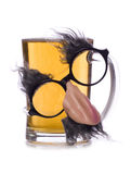 Pint of beer with glasses disguise cut out Royalty Free Stock Photos