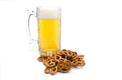 A Pint of Beer and Salty Pretzels Stock Photo