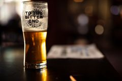 Pint of Bitter Beer in the Pub stock images