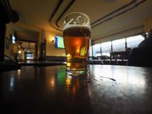 british ale beer pint selective focus on glass Royalty Free Stock Image