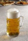 Pint of fresh beer stock photo