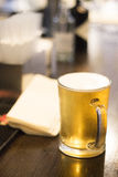 Pint glass of beer in pub bar. Wedding party reception in England royalty free stock images