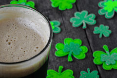 Pint of Stout Beer with Green Shamrock. For St Patrick's Day Stock Image