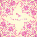 Pint valentines day doodle flowers background Royalty Free Stock Images