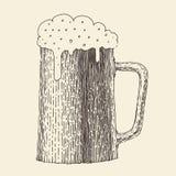 Pint van bierwijnoogst gegraveerde illustratie, getrokken hand Stock Fotografie