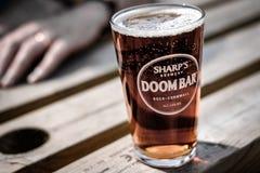 Pinta da cerveja de esboço vista em um banco em um jardim da cerveja imagem de stock