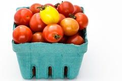 Pinta di Cherry Tomatoes In maturo un cartone blu Immagine Stock