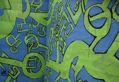 Pintada abstracta azul y verde Imagenes de archivo