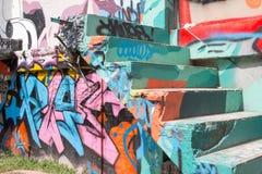 Pintada abstracta de un artista no identificado en la pared Fotografía de archivo libre de regalías