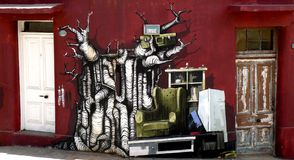 Pintada de la venta de los desperdicios, Valparaiso Imágenes de archivo libres de regalías
