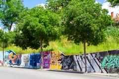 Pintada de los dibujos de la calle Arte Blanes, España de la calle imagen de archivo libre de regalías