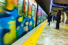 Pintada del subterráneo del metro de Roma Fotos de archivo