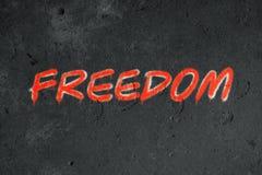 Pintada del texto de la libertad en la pared del grunge imagen de archivo libre de regalías