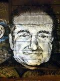 Pintada del tributo de Robin Williams Imágenes de archivo libres de regalías