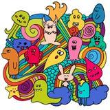 Pintada divertida de los monstruos Arte dibujado mano del bosquejo Ilustración del vector del Doodle Fotografía de archivo