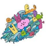 Pintada divertida de los monstruos Arte dibujado mano del bosquejo Ilustración del vector del Doodle Puede ser utilizado para los Foto de archivo libre de regalías