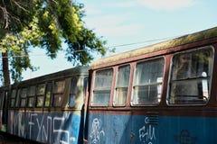 Pintada en los carros desarmados viejos del tren, fotos de archivo libres de regalías