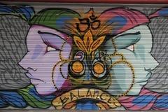 Pintada en tienda del boardedup en paseo de la reducción de las compras de San Jorge de la arcada `` en Croydon Imagen de archivo libre de regalías