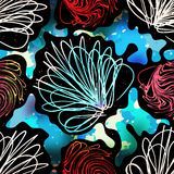 Pintada en una textura inconsútil del grunge del modelo del fondo del color negro del extracto Fotografía de archivo
