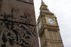 Pintada grande de Ben Famous Landmark y de la pared Fotos de archivo