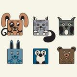 Pintado, animais do quadrado ajustado de cor Foto de Stock Royalty Free