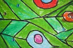 Pintado con el fondo colorido de los l?pices imagen de archivo
