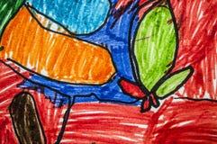 Pintado con el fondo colorido de los l?pices imagenes de archivo