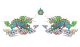 Pintado de dragões chineses coloridos imagens de stock royalty free