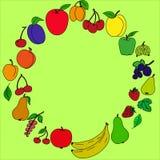 Pintado dos frutos em um círculo imagens de stock