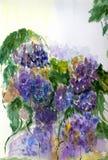 Pintado en el ramo de la acuarela de lilas Imágenes de archivo libres de regalías