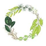 Pintado a mano con la guirnalda floral de los marcadores con la ramita, la rama y las hojas abstractas verdes stock de ilustración