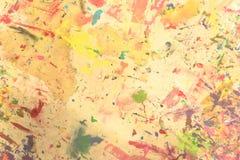 Pintado a mano de acrílico del grunge abstracto en fondo de la lona Fotografía de archivo libre de regalías