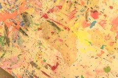 Pintado a mano de acrílico del grunge abstracto en fondo de la lona Imagen de archivo libre de regalías