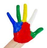 Pintado a mano en pinturas coloridas imagen de archivo libre de regalías