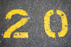 20 pintados no parque de estacionamento Fotografia de Stock