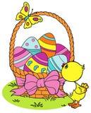 Pintainho da Páscoa e fundo amarelos colorindo dos ovos Foto de Stock