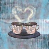 Pintando dois xícaras de café ou chás com coração Imagem de Stock Royalty Free
