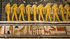 Pintando encontrado no túmulo do rei Tut no vale dos reis em Luxor, Egito Foto de Stock