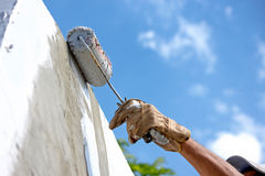 Pintando a fachada Fotografia de Stock Royalty Free