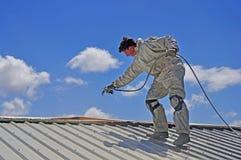 Pintando o telhado Imagens de Stock