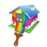 Pintando um projeto da casa para o negócio Fotos de Stock