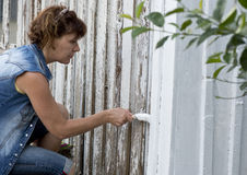 Pintando uma casa no branco fotos de stock royalty free