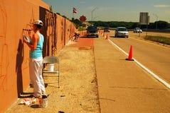Pintando uma estrada mural Fotografia de Stock Royalty Free