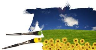Pintando uma paisagem do verão Fotografia de Stock Royalty Free
