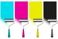 Pintar trabalha pelo rolo com CMYK Imagens de Stock