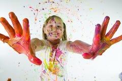 Pinte as mãos cobertas Fotos de Stock