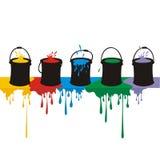 Pinte caixas e gotas em uma parede Fotos de Stock